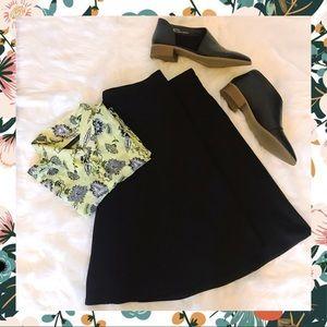 Black Scuba Knit Circle Skater Skirt